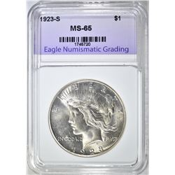 1923-S PEACE DOLLAR ENG GEM BU