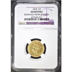 1878 $3 GOLD INDIAN PRINCESS  NGC AU DETAILS
