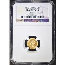 1873 OPEN 3 $1 GOLD INDIAN PRINCESS
