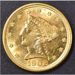 1902 $2.5 GOLD LIBERTY HEAD  CH BU