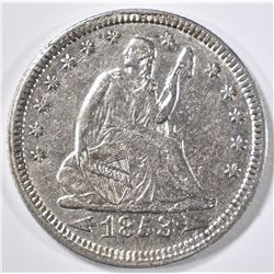 1853 SEATED LIBERTY QUARTER ARROWS & RAYS  AU
