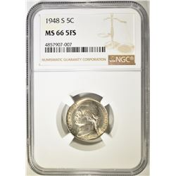 1948-S JEFFERSON NICKEL NGC MS-66 FS