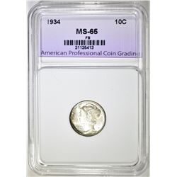 1934 MERCURY DIME APCG GEM BU FB