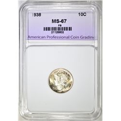 1938 MERCURY DIME APCG SUPERB GEM BU FB