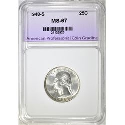 1948-S WASHINGTON QUARTER, APCG SUPERB GEM BU
