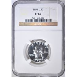 1954 WASHINGTON QUARTER NGC PF-68