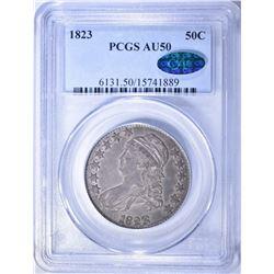 1823 BUST HALF DOLLAR, PCGS AU-50 CAC STICKER