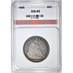 1868 SEATED HALF DOLLAR, AGP CH BU