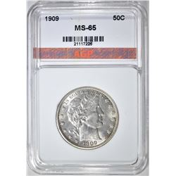 1909 BARBER HALF DOLLAR, AGP GEM BU