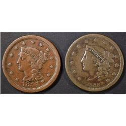 1838 VF & 1854 AU LARGE CENTS