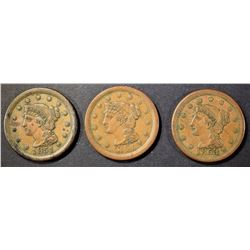1851, 1853 & 1854 LARGE CENTS  XF