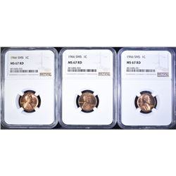 (3) 1966 SMS LINCOLN CENTS  NGC-67 RD