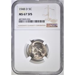 1948-D JEFFERSON NICKEL NGC MS-67 5FS