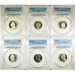 6-PCGS GRADED PR-69 DCAM JEFFERSON NICKELS: