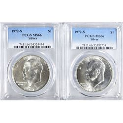 2 1972-S EISENHOWER DOLLARS PCGS MS-66