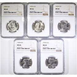 (5) 1979-S SUSAN B ANTHONY DOLLARS NGC MS-66