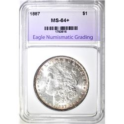 1887 MORGAN DOLLAR, ENG CH/GEM BU