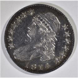 1814 BUST HALF DOLLAR, AU+ a few marks rev