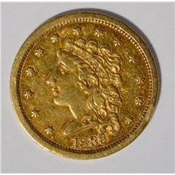 1838 $2.5 CLASSIC HEAD GOLD VF