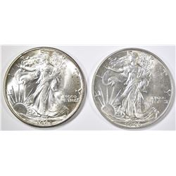 1943 & 46 WALKING LIBERTY HALVES  CH BU