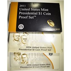 2011, 14 & 15 U.S. PRESIDENTIAL DOLLAR PROOF SETS