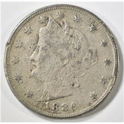 1886 LIBERTY NICKEL FINE POROUS