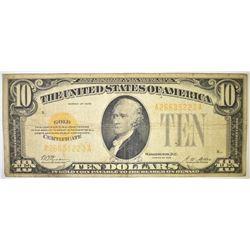 1928 $10 GOLD CERTIFICATE, VG+