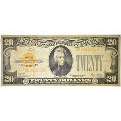 1928 $20 GOLD CERTIFICATE, VG 1-pinhole