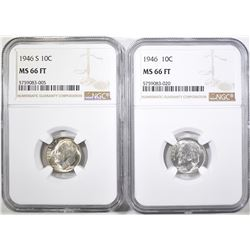 1946-P&S ROOSEVELT DIMES, NGC MS-66 FT