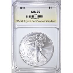 2014 AMERICAN SILVER EAGLE, OBCS PERFECT GEM BU