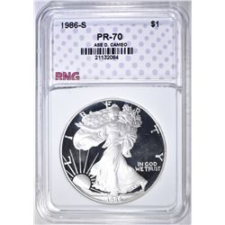 1986-S PROOF SILVER EAGLE, RNG PERFECT GEM PR DCAM