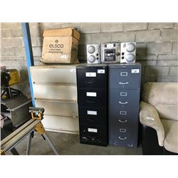3 METAL 4 DRAWER TOOL STORAGE CABINETS, 2 MOBILE EQUIPMENT STANDS, SHOP RADIO, YARD LIGHT &