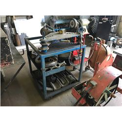 BLUE TITAN HEAVY DUTY INDUSTRIAL PIPE BENDER WITH TOOLING ON MOBILE CART