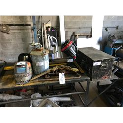 SEARS PAINT POT, CHAIN CINCH, CROW BAR, LEVEL, PORTABLE PROPANE HEATER, BLACK METAL TOOL BOX &