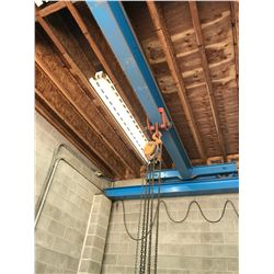 ORANGE 3 TON MOBILE CHAIN SHOP CRANE ON RAIL CLAMP & BLUE RIGGING SYSTEM LOCATED IN WARHOUSE #1