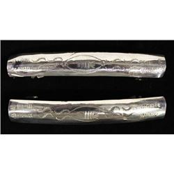 2 Navajo Sterling Silver Hand Stamped Barrettes