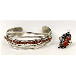 Navajo Sterling Coral Bracelet by Benally & Ring