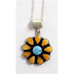 Navajo Sterling Turquoise Pendant Necklace