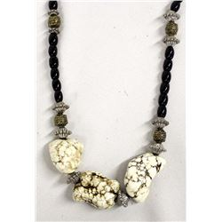 Large White Buffalo Turquoise Nugget Necklace