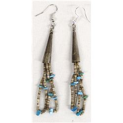 Navajo Turquoise and Shell Heishi Earrings