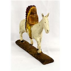 Antique Carved Wood Folk Art Chief on Horse