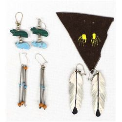 3 Pairs of Native American Earrings