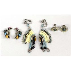 3 Pairs Vintage Native American Clip-On Earrings