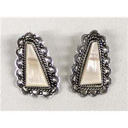 Navajo Sterling Pink Mother of Pearl Earrings