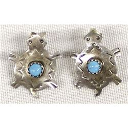 Navajo Sterling Turquoise Turtle Earrings