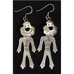 Vintage Taxco Sterling Silver Clown Earrings