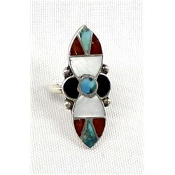 Vintage Native American Zuni Inlay Ring, Sz 6.75
