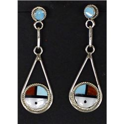 Zuni Sterling Inlay Sun Face Earrings, V. Edwards