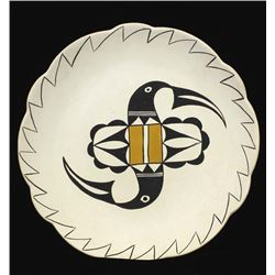 Large Acoma Painted Ceramic Plate by P. Jannie