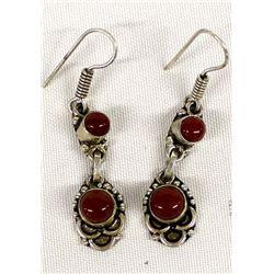 Southwestern Sterling Coral Earrings